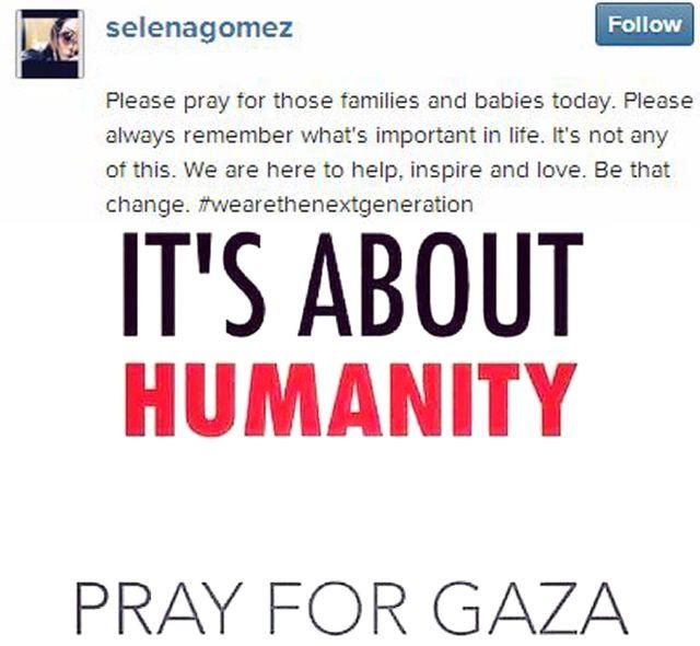سيلينا جوميز تدعو للصلاة من أجل عائلات الضحايا الفلسطنيين