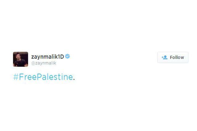 زين مالك يدعو لتحرير فلسطين