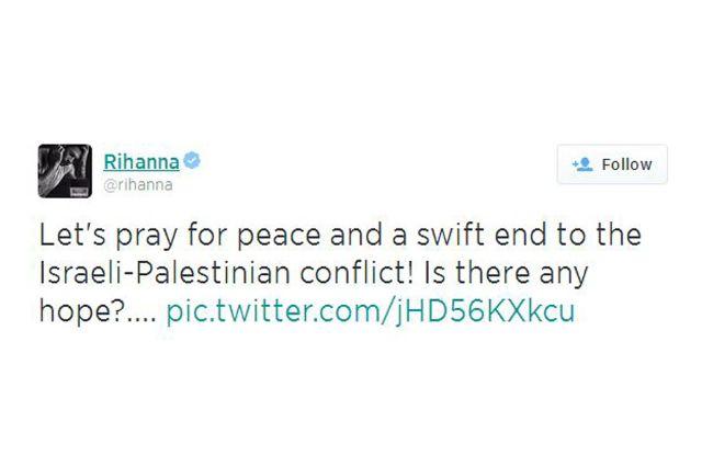 ريانا تستبدل التويتة بأخرى تدعو فيها إلى التساؤل عن موعد حل السلام بين الفلسطنيين والإسرائيلين