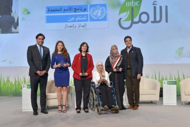Winners of UNV Youth Volunteering Award during the ceremony