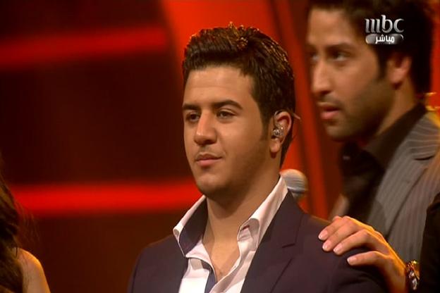 يوسف عرفات قبيل إعلان نتيجة تصويت  Arab Idol